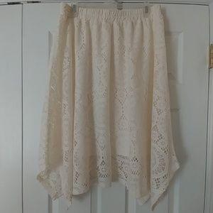 NWT Ivory lace SharkBite skirt fully lined